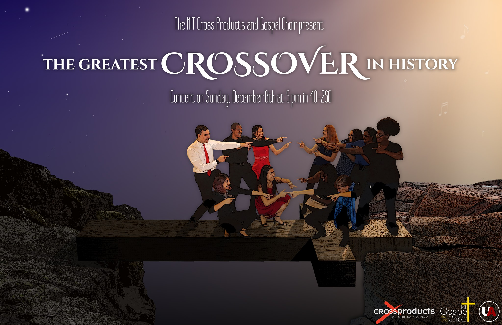 The MIT Cross Products and Gospel Choir present The Greatest Crossover In History concert on Sunday, December 8th at 5 p.m. in 10-250.